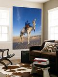 Tunisia, Sahara Desert, Douz, Great Dune, Rider and Camel Vægplakat af Walter Bibikow