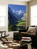 Switzerland, Bernese Oberland, Lauterbrunnen Town and Valley Wall Mural by Michele Falzone
