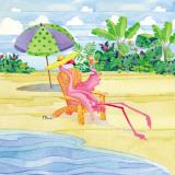 Beach Chair Flamingo Poster von Paul Brent