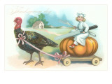 Little Chef Riding Turkey Carriage Prints