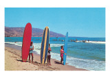 Children with Surf Boards Affiches