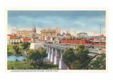 Colorado River Bridge and Austin, Texas Skyline Poster