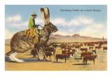 Homme dirigeant un troupeau, assis sur un lièvre géant Affiche