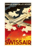 Swissair - Zurich nach London Kunstdruck