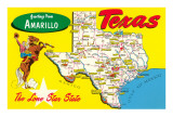 Greetings from Amarillo, Texas, Map Prints