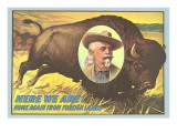 Buffalo Bill Picture Imposed on Bison Posters