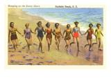 Corriendo alegremente por la playa, Surfside Beach, Carolina del Sur Arte