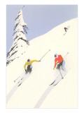 Downhill Skiers in Powder Plakat