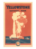 Travel Poster for Yellowstone Park, Old Faithful Pôsters