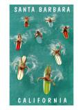Surfers Paddling, Santa Barbara, California Posters