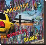 Manhattan Brooklyn Stretched Canvas Print by Sophie Wozniak