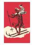 Woman Riding Skiing Devil Posters