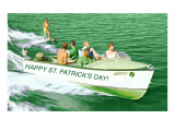 Boat Pulling Water Skier over Green Water, St. Patrick's Day Poster