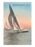 Close-Hauled Sailboat, Newport, Rhode Island Prints