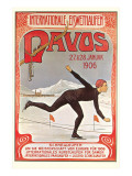 Swiss Speed Skating Poster, Davos Kunstdrucke
