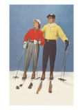 Couple Modeling Fifties Skiwear Affiches