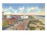 Boardwalk and Beach, Myrtle Beach, South Carolina Plakat