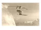 Airborne Skier over Mountains Art