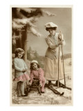 Woman on Skis, Girls on Sled Poster