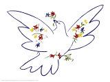 Colomba con fiori Stampe di Pablo Picasso