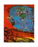 Couple d'amoureux sur fond rouge Affiches par Marc Chagall
