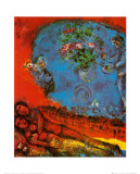 Lovers on a Red Background Posters av Marc Chagall