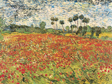 Field of Poppies, Auvers-Sur-Oise, c.1890 Art by Vincent van Gogh