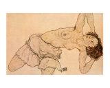 Knielende, Halfnaakte Vrouw, Naar Links Gebogen Posters by Egon Schiele