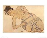 Knielende Halfnaakte Plakater af Egon Schiele