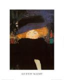 羽毛の帽子と襟巻きを着けた婦人 1905-09年 高品質プリント : グスタフ・クリムト