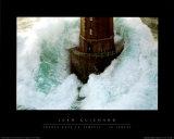 Leuchtturm und stürmische Wellen Kunstdruck von Jean Guichard