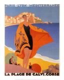 La plage de Calvi Affiche par Roger Broders