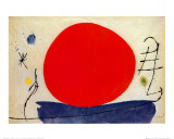 De rode zon Posters van Joan Miró