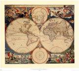 Weltkarte Poster von Nicholas Visscher