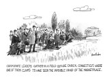 Corporate Leaders Gather In A Field Outside Darien, Connecticut, Where One… - New Yorker Cartoon Premium Giclee Print by Dana Fradon