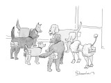 A group of dogs in a circle; they all have nametags attached to their rear… - New Yorker Cartoon Premium Giclee Print by Danny Shanahan