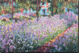 De tuin van Monet, Irissen Kunst op gespannen canvas van Claude Monet