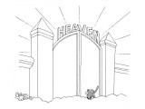 Cat enters Heaven through a cat door. - New Yorker Cartoon Reproduction giclée Premium par Gahan Wilson