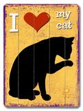 I Love my Cat 木製看板