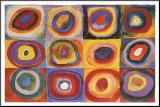 Farbstudie Quadrate Druck aufgezogen auf Holzplatte von Wassily Kandinsky