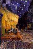 Caféterasse bei Nacht, ca. 1888 Druck aufgezogen auf Holzplatte von Vincent van Gogh