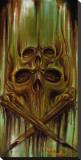 Green Skulls Bedruckte aufgespannte Leinwand von Manuel Valenzuela
