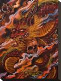Dragons Descent Bedruckte aufgespannte Leinwand von Manuel Valenzuela