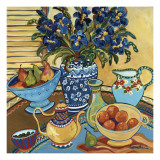Blue and White with Oranges Affiches par Suzanne Etienne
