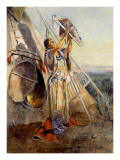 Culto al sol en Montana Póster por Charles Marion Russell