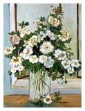 White Roses in Blue Art par Suzanne Etienne