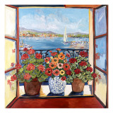 Flowers and Seascape Poster von Suzanne Etienne