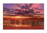 Afrikaanse zonsondergang Gicléedruk van Jonathan Sanders