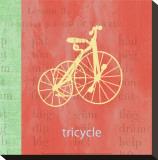Vintage Toys Tricycle Bedruckte aufgespannte Leinwand von Paula Scaletta