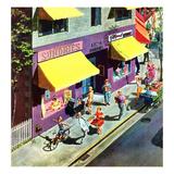 """Bicycle Tricks"", June 18, 1955 Gicléetryck av Thornton Utz"